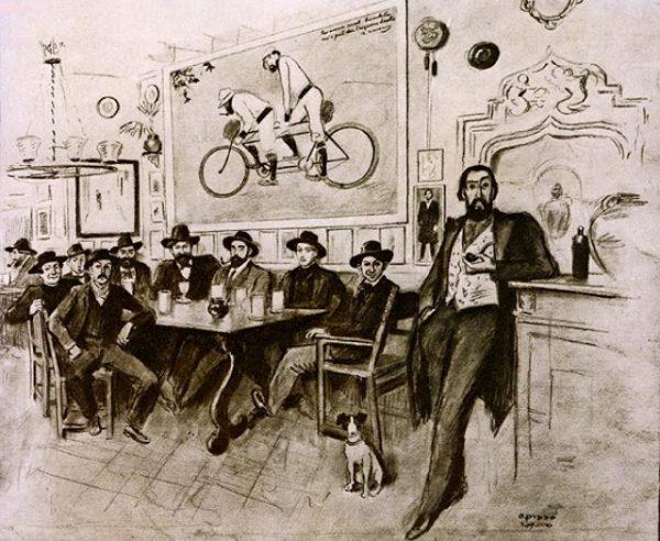 Dibujo Ricard Opisso.Trtulia Els 4 Gats. Izqu a derecha. Adolf Mas, Is. Nonell, Vidal i Ventosa, Manolo Hugue, quim mir,r.casas,ricard canals,picasso y p. romeu